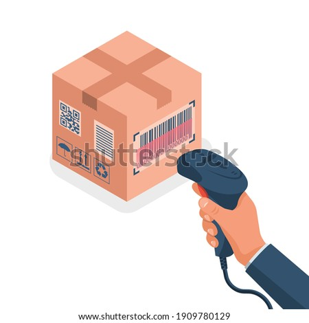 The operator holds a barcode scanner hand. Scanning Barcode on a cardboard box. Equipment for accounting of goods. Vector illustration isometric design. Product identification.