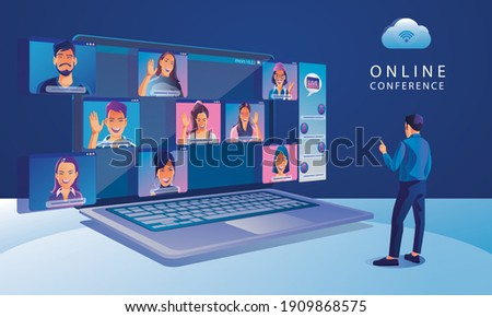 Businessmen use Video conference landing Working People on window screen taking with colleagues. Videoconferencing and online meeting workspace page, man and woman learning Vector illustration, Flat Royalty-Free Stock Photo #1909868575