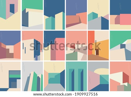 Set of Abstract architecture background with geometric art pattern. Modern building banner design vector. Royalty-Free Stock Photo #1909927516