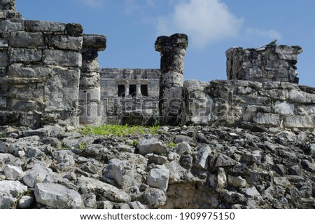 Building of the great palace in the archaeological zone of Tulum Royalty-Free Stock Photo #1909975150