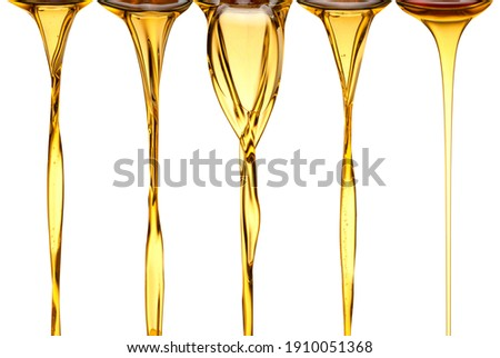 set of natural Olive oil golden oil flow natural flow of oil, vegetable oil, peanut sunflower sesame oils Royalty-Free Stock Photo #1910051368