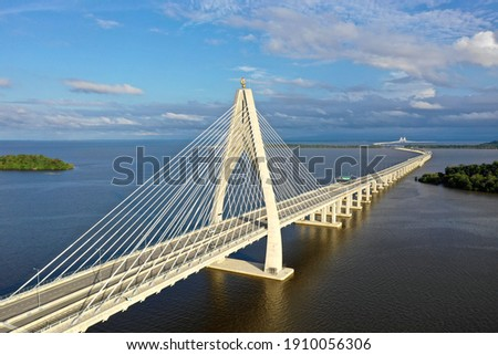 longest bridge in Southeast Asia, known as 'Sultan Haji Omar Ali Saifuddien bridge' previously known as 'Temburong bridge' located at the country Brunei Darussalam Royalty-Free Stock Photo #1910056306