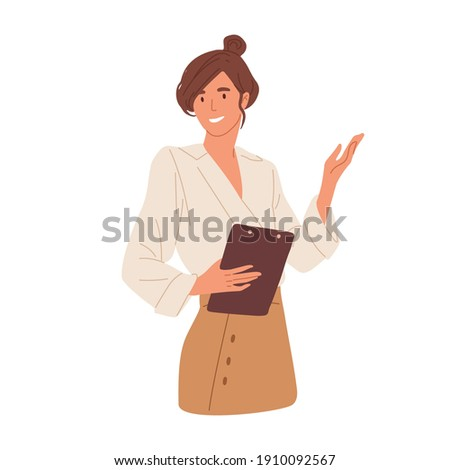 Happy young woman pointing and showing smth with hand. Smiling secretary or businesswoman explaining and presenting smth. Colored flat vector illustration isolated on white background Royalty-Free Stock Photo #1910092567