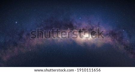 Milky way's bend in starry night sky. Royalty-Free Stock Photo #1910111656