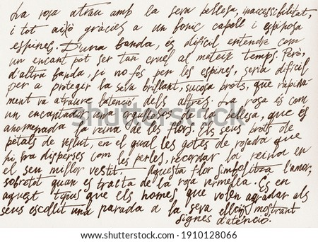 Abstract retro unreadable brown ink-written text.Old manuscript letter with vintage handwriting calligraphy texture.Grungy textured paper background.Scrapbook inscription design template.Lettering. Royalty-Free Stock Photo #1910128066