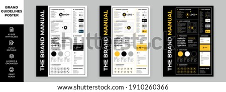 DIN A3 Brand Guidelines Poster Layout Set, Brand Manual Templates, Simple style and modern layout Brand Identity, Brand Guidelines Royalty-Free Stock Photo #1910260366