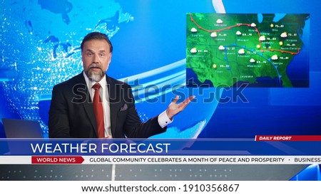 Live News Studio Professional Anchor Reporting on Weather Forecast. Weatherman, Meteorologist, Reporter in Television Channel Newsroom with Video Screen Showing Weather Synoptic Map Chart for U.S. Royalty-Free Stock Photo #1910356867