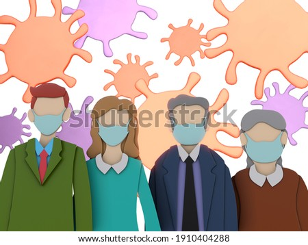 PAPER CUT 3D RENDER ILLUSTRATION CARTOON CHARACTER ART. Clipping path Human Man Woman Old Senior Middle age with face mask for stop Coronavirus on isolated white background. Virus Covid-19 concept.