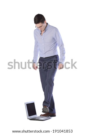 man comes on foot laptop isolated on white background  #191041853