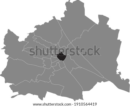 Black location map of Viennese Innere Stadt district inside gray map of Vienna, Austria Royalty-Free Stock Photo #1910564419