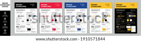 DIN A3 Brand Guidelines Poster Layout Set, Brand Manual Templates, Simple style and modern layout Brand Identity, Brand Guidelines Royalty-Free Stock Photo #1910571844