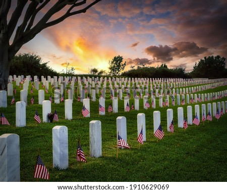 Sunset and American flags on Memorial Day at a national cemetery in southern California. Royalty-Free Stock Photo #1910629069