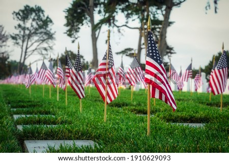 Memorial Day at a southern California cemetery. Royalty-Free Stock Photo #1910629093