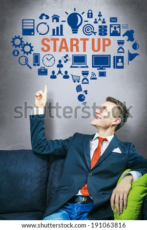 Startup company idea concept, pointing up #191063816