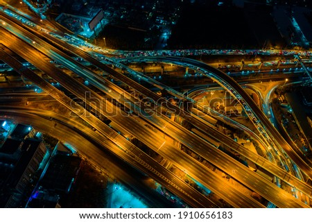 Expressway top view, Road traffic an important infrastructure in Thailand Royalty-Free Stock Photo #1910656183