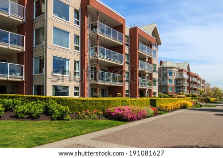 Modern apartment buildings in New Westminster, British Columbia, Canada. #191081627