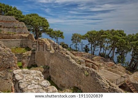 Ancient roman ruins of Villa Jovis. The ruins of Villa Jovis built by emperor Tiberius is located at the edge of a tall cliff on the island of Capri, Tyrrhenian sea, Italy Royalty-Free Stock Photo #1911020839