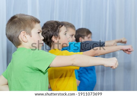 Boys in multicolored t-shirts practice punching on a light background Royalty-Free Stock Photo #1911073699