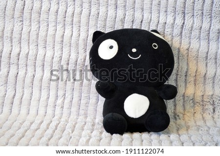 Adorable Black And White Squishy Cat Plush Toy