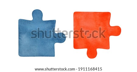 Watercolor illustration set of two jigsaw puzzle pieaces. Cold blue and warm orange colors. Hand painted watercolour sketchy drawing on white background, cutout clip art elements for creative design.