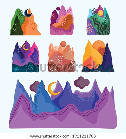 abstract landscape icons set mountains sun moon beautiful sceneries vector illustration Royalty-Free Stock Photo #1911211708