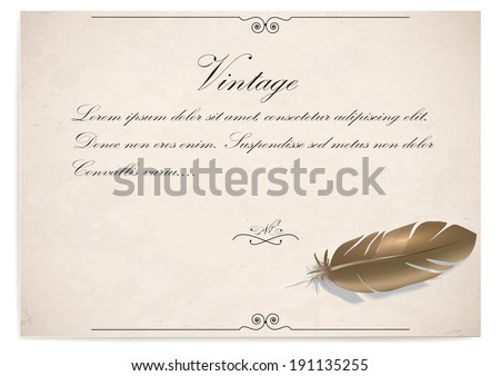 background an ancient quill on old paper. vector illustration #191135255