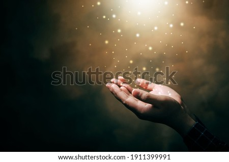praying hands with faith in religion and belief in God on blessing background. Power of hope or love and devotion. Royalty-Free Stock Photo #1911399991