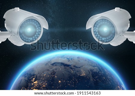 CCTV cameras around the globe, global surveillance, surveillance of everyone online. Globalization concept, surveillance of all people