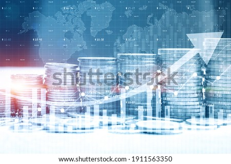 Stack of money coin with trading graph for finance investor. Cryptocurrency digital economy.  Financial investment background concept. Royalty-Free Stock Photo #1911563350