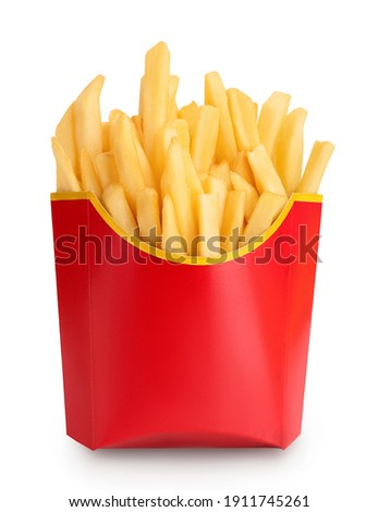 French fries or fried potatoes in a red carton box isolated on white background with clipping path and full depth of field Royalty-Free Stock Photo #1911745261