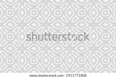 Complex geometric volumetric convex 3D pattern for wallpapers, presentations, websites. Ethnic embossed white background in traditional oriental style. Royalty-Free Stock Photo #1911771808