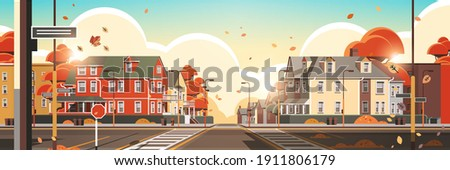 city facade buildings empty no people urban street real estate houses exterior sunset autumn cityscape background horizontal vector illustration Royalty-Free Stock Photo #1911806179