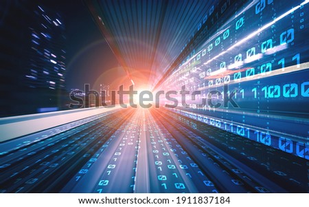 Digital data flow on road with motion blur to create vision of fast speed transfer . Concept of future digital transformation , disruptive innovation and agile business methodology . Royalty-Free Stock Photo #1911837184