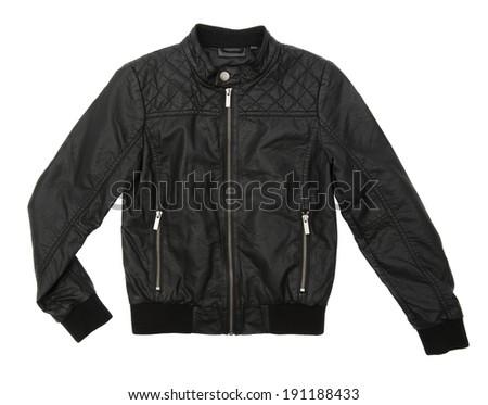 Black leather jacket isolated on white background #191188433
