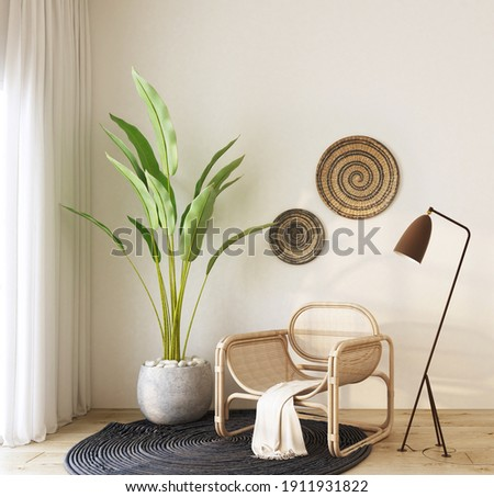 home interior with rattan armchair ,green plant , floor lamp,black carpet , cream color  fabric and rattan wall decorate,cozy home decorate. Royalty-Free Stock Photo #1911931822