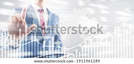 Business finance growth graph chart analysing diagram trading and forex exchange concept double exposure mixed media background website header. Royalty-Free Stock Photo #1911961189