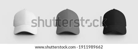 White, gray, black cap mockup isolated on background for design and pattern presentation. Blank headdress template for online store advertising. Fashionable Peaked Hat Set, Standard Panama Royalty-Free Stock Photo #1911989662