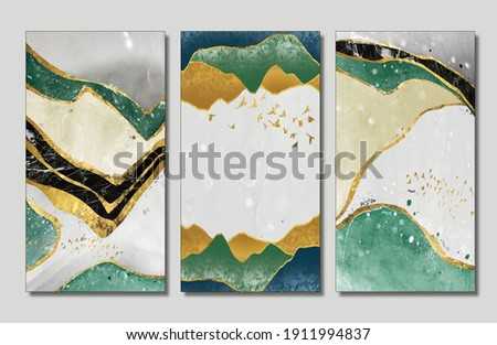 3d wallpaper for wall frames . resin geode and abstract art, functional art, like watercolor geode painting .golden, green and gray marble background  Golden Wavy  lines suitable for print in canvas