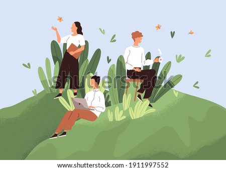 Positive working environment with happy employees concept. Comfortable workplace with good conditions, conducive psychological climate and healthy relations between workers. Flat vector illustration. Royalty-Free Stock Photo #1911997552