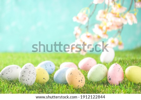 Happy Easter background, spring-time concept. Colorful pastel eggs, nests and bunny toys on  sunny spring day, meadow green grass.  Royalty-Free Stock Photo #1912122844