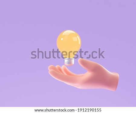 3D Cartoon hand holding lightbulb on purple background. thinking, good idea and business success creative concept. 3d render illustration