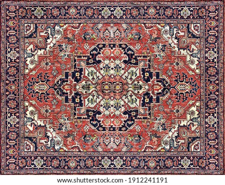 Part of Old Persian Carpet Texture, abstract ornament milky blue Royalty-Free Stock Photo #1912241191