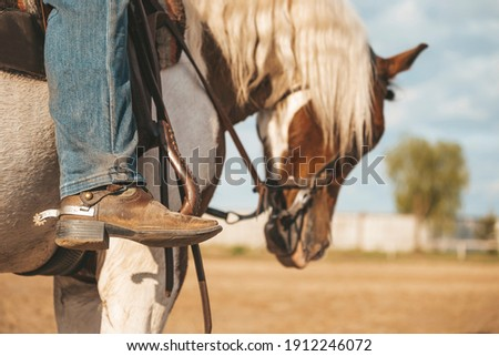 Cowboy boot with a spur. Ranch horse. Pinto western horse with a rider. Royalty-Free Stock Photo #1912246072
