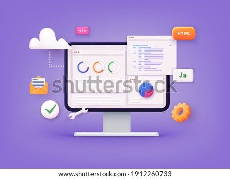 Website programming and coding. Web development and coding. 3D Vector Illustrations. Royalty-Free Stock Photo #1912260733