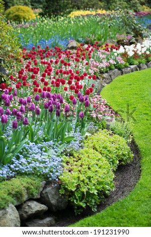 Variety of Spring Flowers Blooming in Beautiful Garden #191231990