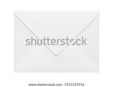 Blank closed white envelope isolated on white background, mockup. Top view, flat lay Royalty-Free Stock Photo #1912324156