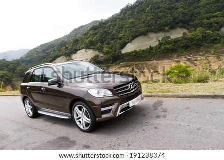 Hong Kong, China March 29, 2012 : Mercedes-Benz ML-Class ML500 SUV test drive on March 29 2012 in Hong Kong. #191238374