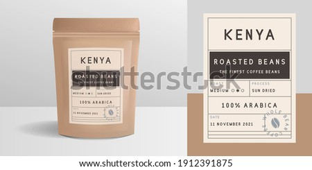 Paper zip package, pouch mockup. Vintage trendy label, sticker template. Coffee zip package design. Package mockup template for logo, brand, sticker, label. Vector illustration Royalty-Free Stock Photo #1912391875