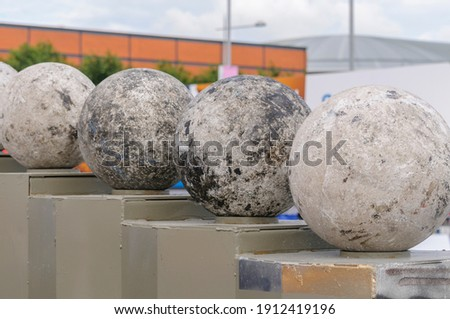 Atlas Stones on their podiums at a Strongman Contest  (NOTE: This is NOT artwork) Royalty-Free Stock Photo #1912419196
