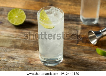 Refreshing Cold Tequila Ranch Water Cocktail with Lime Royalty-Free Stock Photo #1912444120